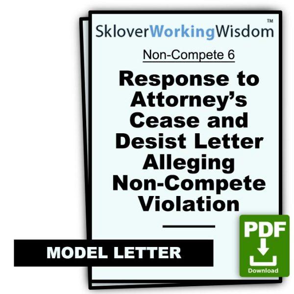 Sklover Working Wisdom Cease and Desist Alleging Non-Compete 6 Model Letter