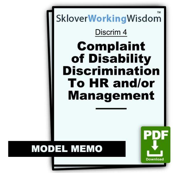 Sklover Working Wisdom Complaint of Disability Discrimination Discrim 4 Model Letter