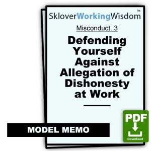 Defending Yourself Against Allegation of Dishonesty at Work (Two Models)