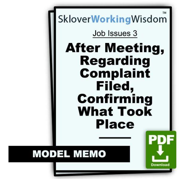 Sklover Working Wisdom Discrimination Harassment Job Issues 3 Model Letter
