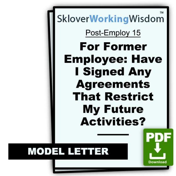 Sklover Working Wisdom Former employer Post-Employ 15 Model Letter