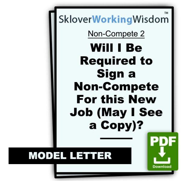 Sklover Working Wisdom Non-Compete 2 Model Letter