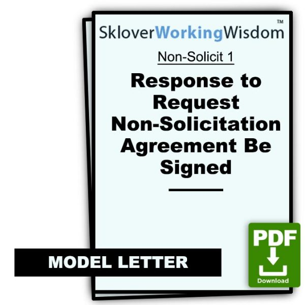Sklover Working Wisdom Non-Solicitation Agreement Non-Solicit 1 Model Letter