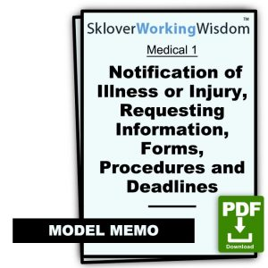 Model Notification of Illness or Injury, Requesting Information, Forms, Procedures and Deadlines