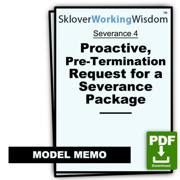 Sklover Working Wisdom Request Severance 4 Model Letter