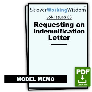 Model Memo Requesting an Indemnification Letter