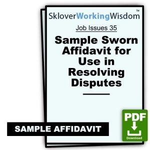Sample Sworn Affidavit for Use in Resolving Disputes