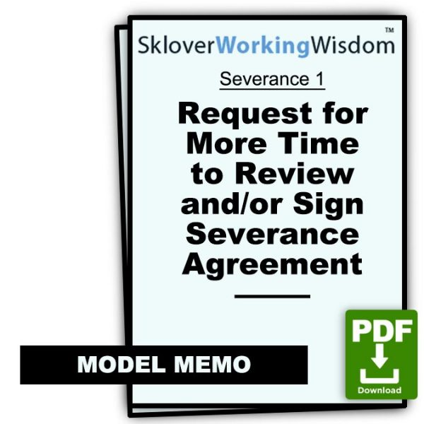 Sklover Working Wisdom Severance Agreement Severance 1 Model Letter