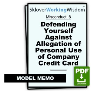 Defending Yourself Against Allegation of Personal Use of Company Credit Card (Two Models)