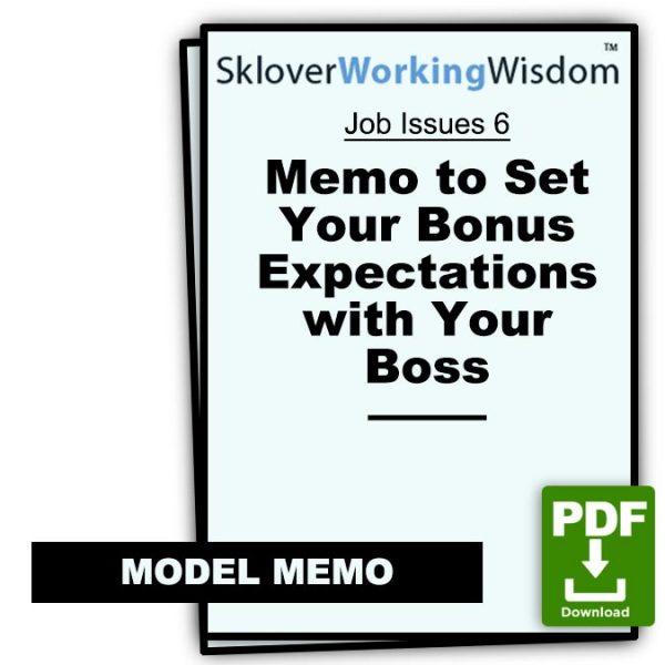 Sklover Working Wisdom bonus expectations with boss Model Letter