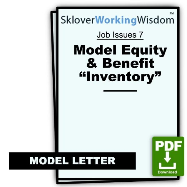 Sklover Working Wisdom equity and benefit inventory Model Letter