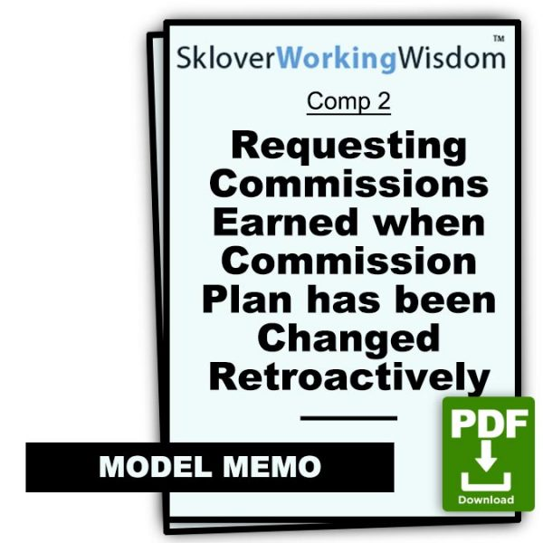 Sklover Working Wisdom requesting commissions Model Letter