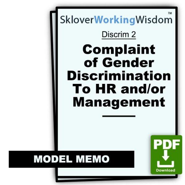 Sklover Working Wisdom complaint gender discrimination Model Letter