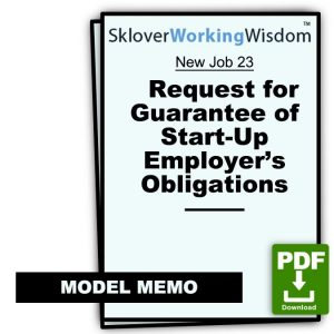 Request for Guarantee of Start-Up Employer's Obligations by Parent Company or Investors
