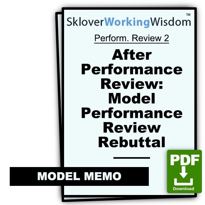 Sklover Working Wisdom performance review rebuttal Model Letter