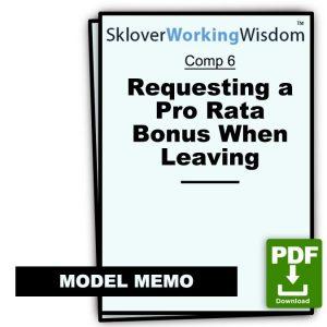 Memo Requesting a Pro Rata Bonus When Leaving