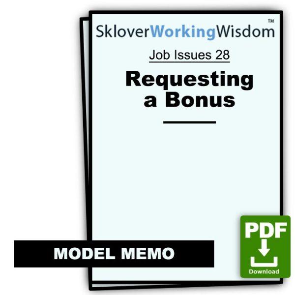 Sklover Working Wisdom requesting bonus Model Letter