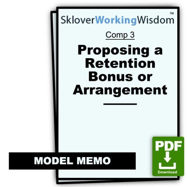 Sklover Working Wisdom proposing retention bonus Model Letter